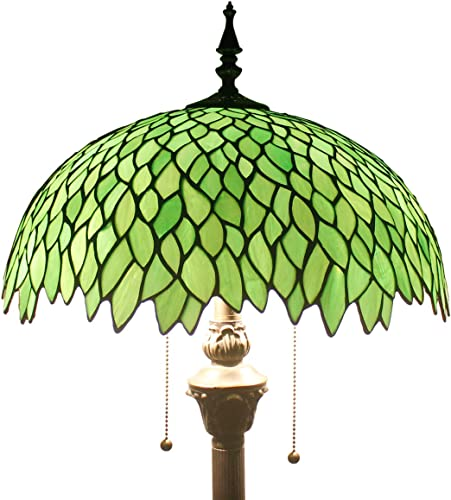 Tiffany Floor Standing Lamp W16H64 Inch 2E26 Stained Glass Green Wisteria Style Shade Antique Reading Lighting Base S523 WERFACTORY LAMPS Bedroom Living Room Bedside Table Bookcase Dresser Lover Gift