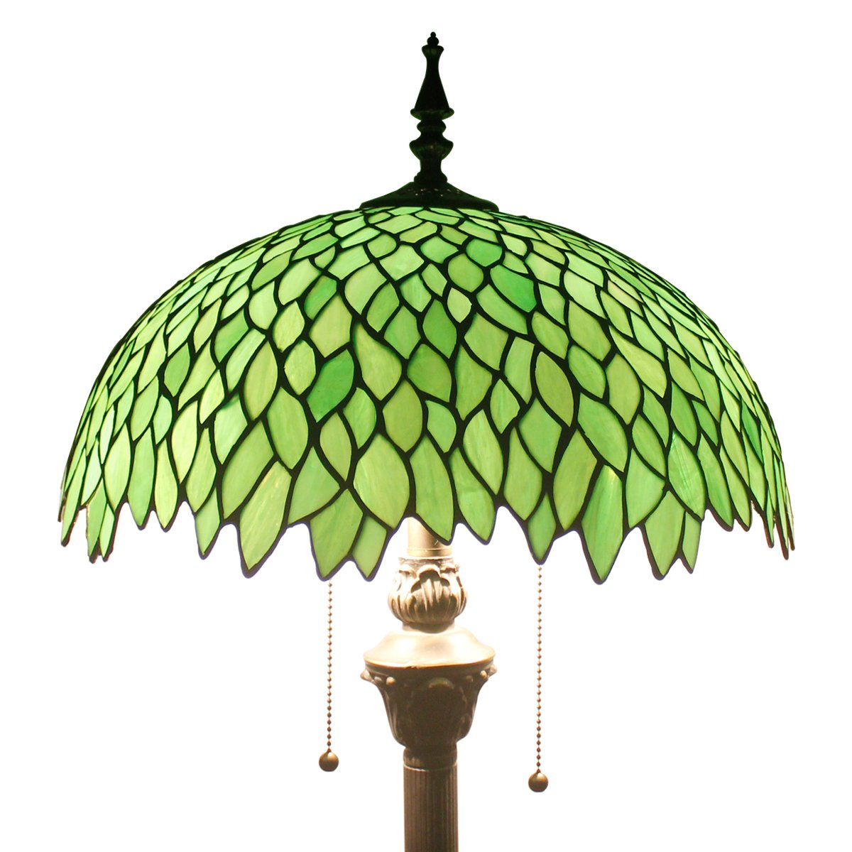Green Wisteria Tiffany Style Floor Standing Lamp 64 Inch Tall Stained Glass Shade 2 Light Pull Chain Antique Base Chain for Bedroom Living Room Lighting Table Set S523 WERFACTORY