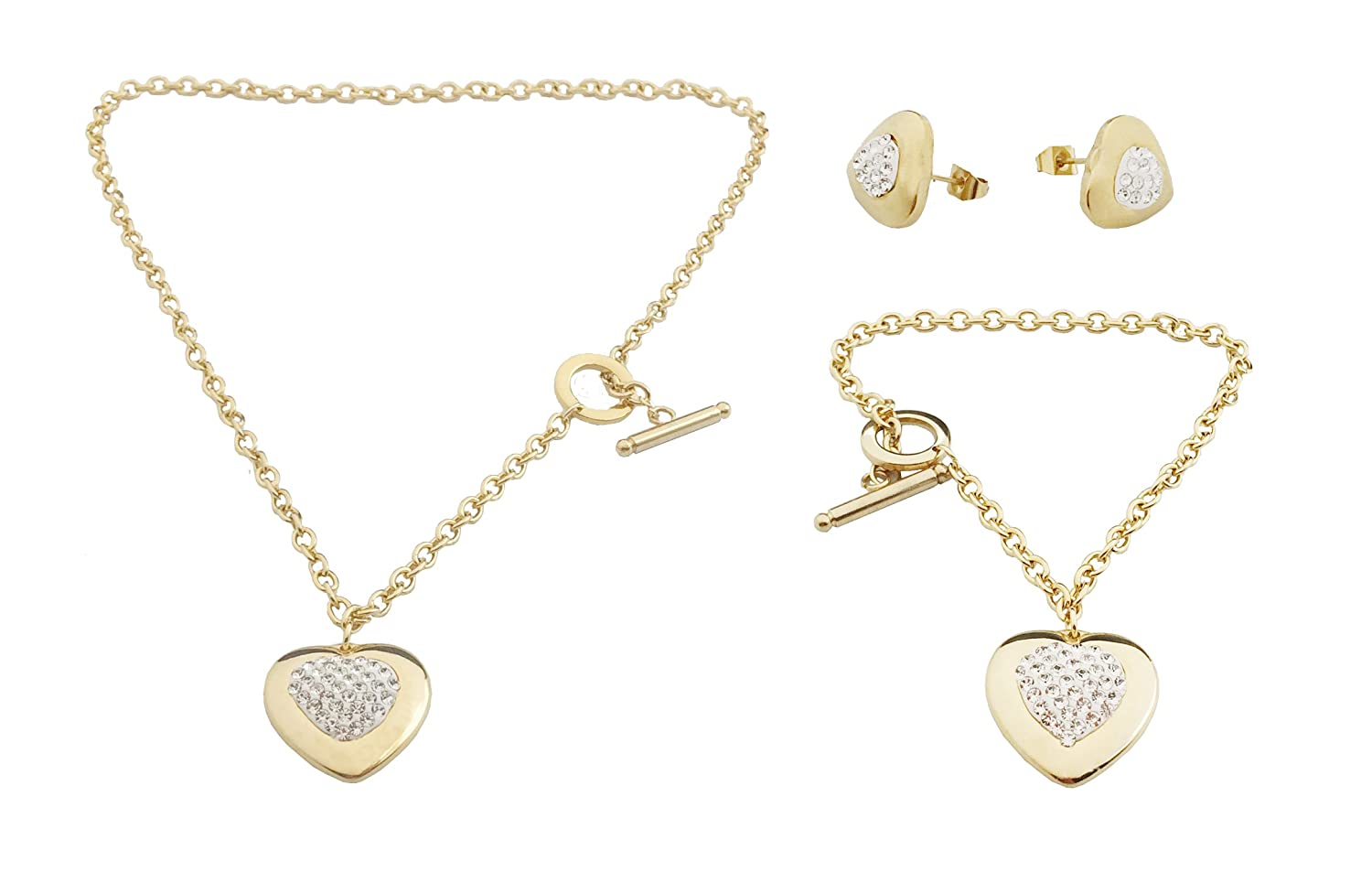 Think Positive Women's Stainless Steel Fashion Jewelry Sets Heart Pendant Necklace Earrings Charm Bracelet with Cubic Zirconia Gold Plating Shen Zhen Shouya none