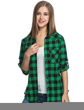 8f904488 eshion red Checked Shirt Womens Black and Yellow Plaid Shirt Button-Down  Shirts Medium Green: Amazon.in: Clothing & Accessories