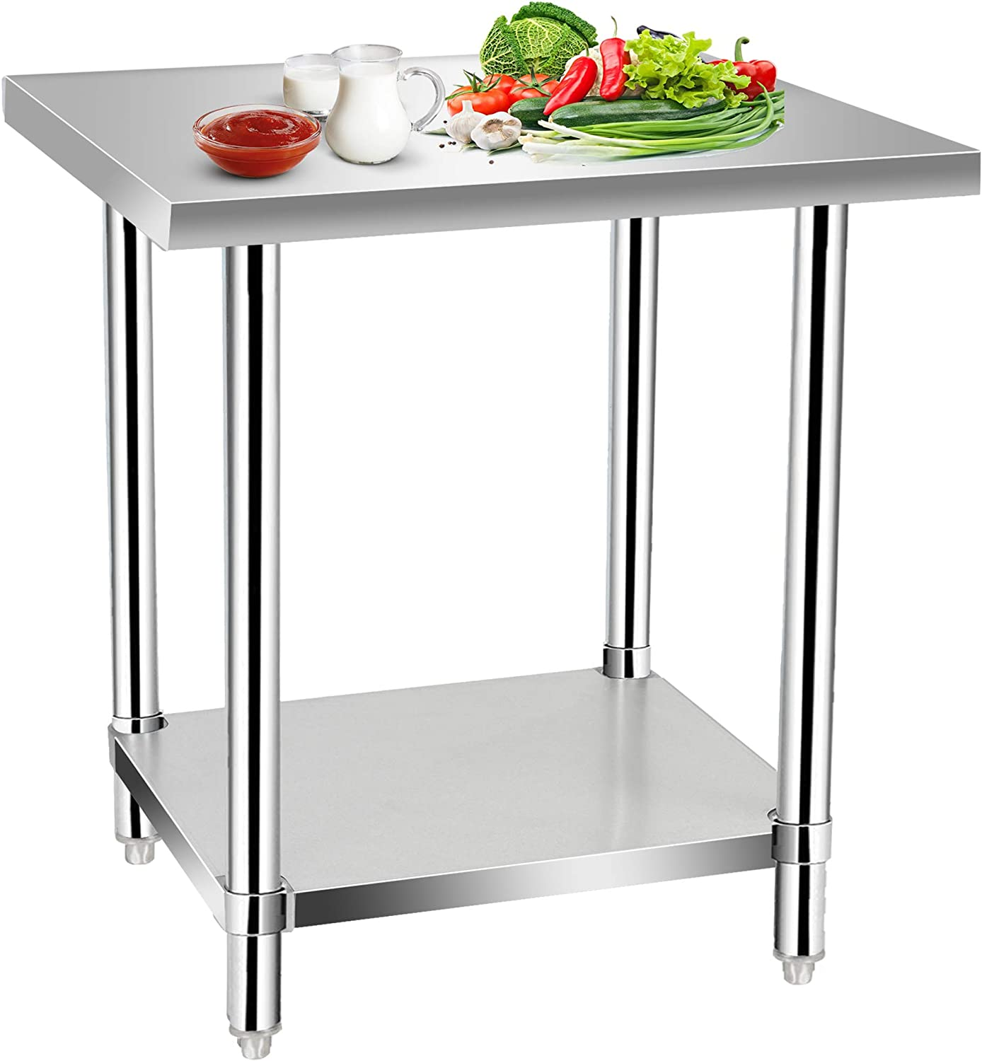 Commercial Kitchen Prep & Work Table, KITMA Stainless Steel Food Prep Table, 30 x 24 Inches,NSF