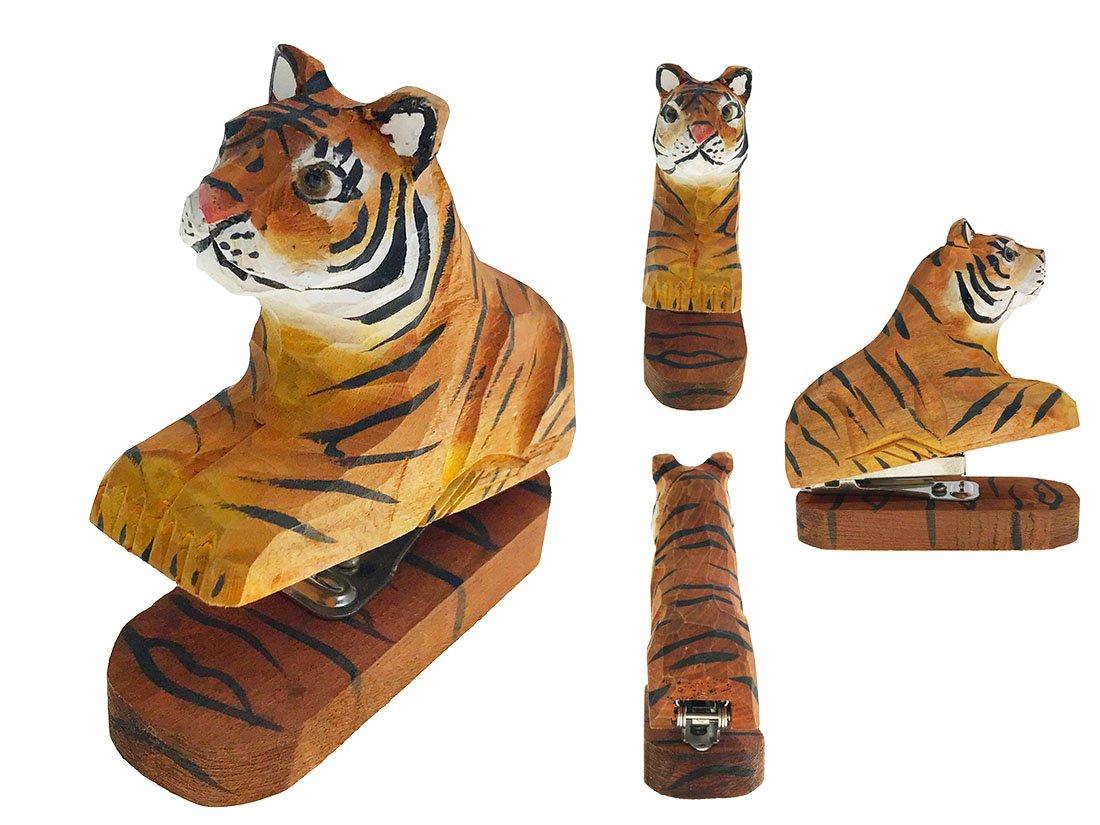 Vivid Handmade Wood Carving Cartoon Mini Animal Stapler for School Office Stationery Children Christmas Gift (Tiger) by Alrsodl