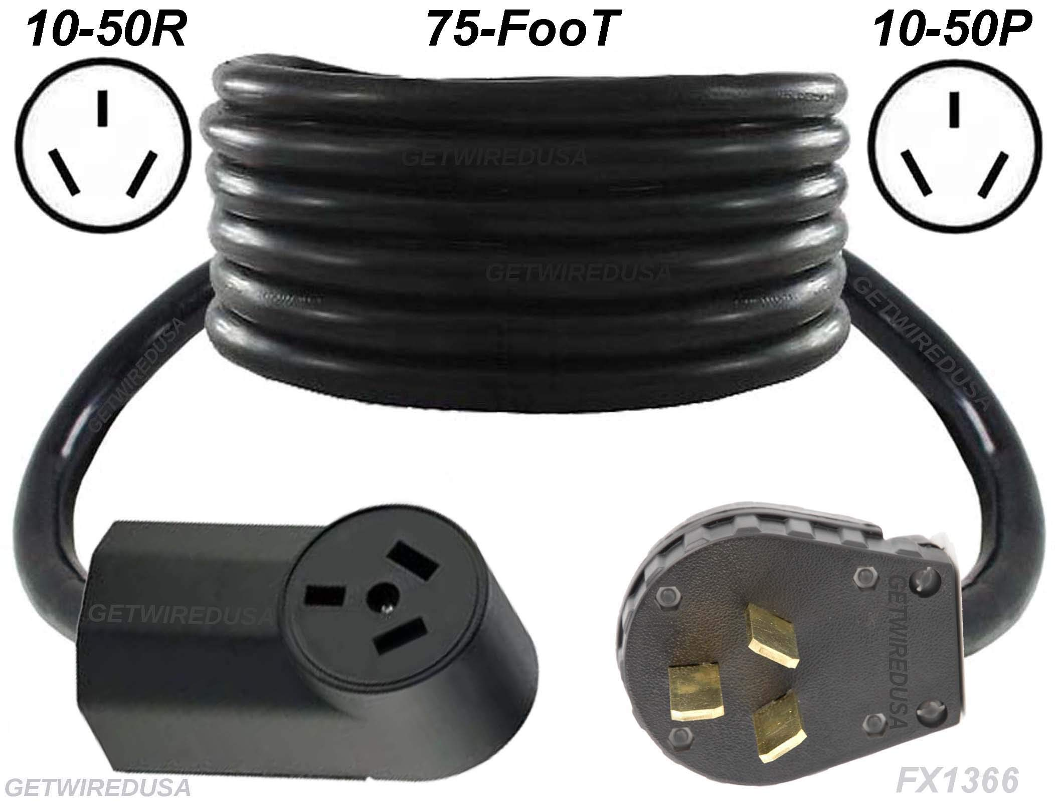 Range, Stove, Oven, 75-FT Extension Cord 10-50P Male 3-Pin Plug To 10-50R Female Receptacle, Heavy Duty, Real Copper Wire, 10/3 10AWG 10-Gauge, NEMA, 75-Feet Long, Made In American, FX1366-R by getwiredusa
