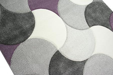 CARPETIA Alfombra de diseño de la Sala de Estar Alfombra de Pelo Corto Gotas de Lila Gris Größe 80x150 cm