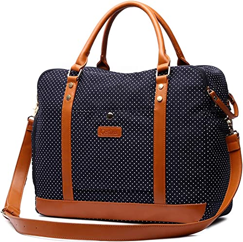 Cestina Cute Lady Women Canvas Travel Bag Weekender Overnight Bag Carry-on Duffel Tote Bag blue dot