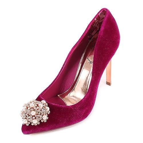 8f925bb2c Ted Baker Women's Peetchv Brooch Embellished Velvet High Heel  Cherry-Cherry-6