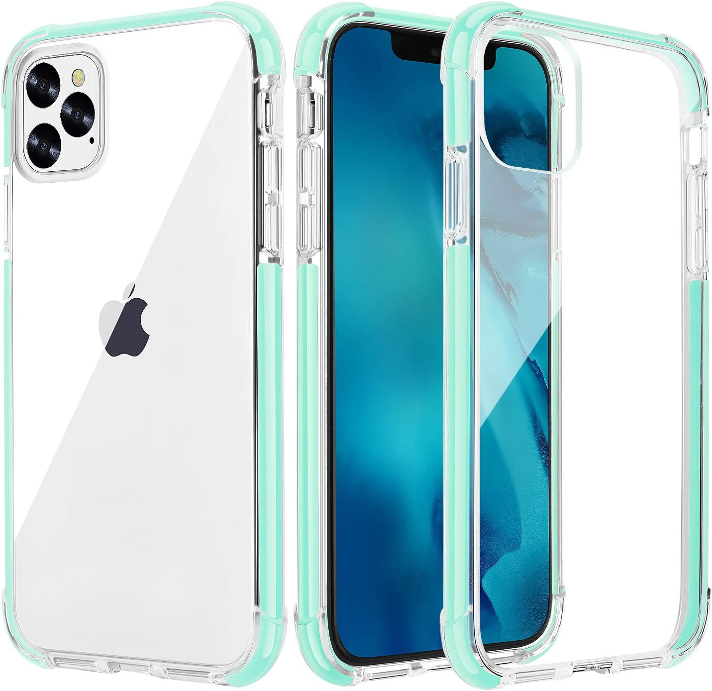 OHNICE iPhone 11 Pro Max Case Clear Premium Anti-Yellow Hard PC Back Cover with Soft Crystal Corners Rubber Bumper Shockproof Protective Case for Apple New iPhone 11 Pro Max 6.5 inch (Green)