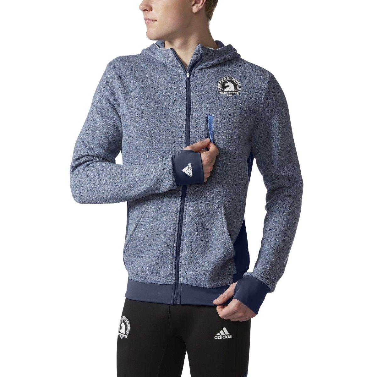 Adidas Boston Marathon Men's Ultra Knit Jacket. Grey/Blue, XL