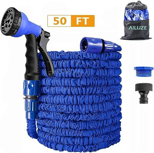 AILUZE manguera de jardín de 50 pies, manguera de agua expandible para jardín con pistola de 8 funciones: Amazon.es: Jardín