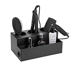 JackCubeDesign Hair Dryer Holder Hair Styling Product Care Tool Organizer Bath Supplies Accessories Tray Stand Storage Bathroom Vanity Countertop 3 Holes(Black) – :MK154C