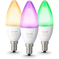 Philips Hue Lot de 3 Ampoules connectées White and Color E14 - Fonctionne avec Alexa
