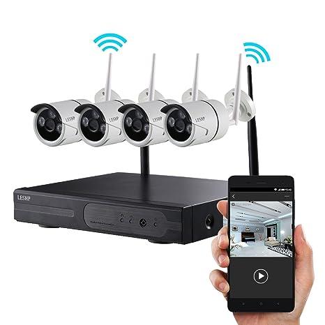 Sistema CCTV de 4 cámaras de vigilancia inalámbricas para seguridad en interiores y exteriores, ...