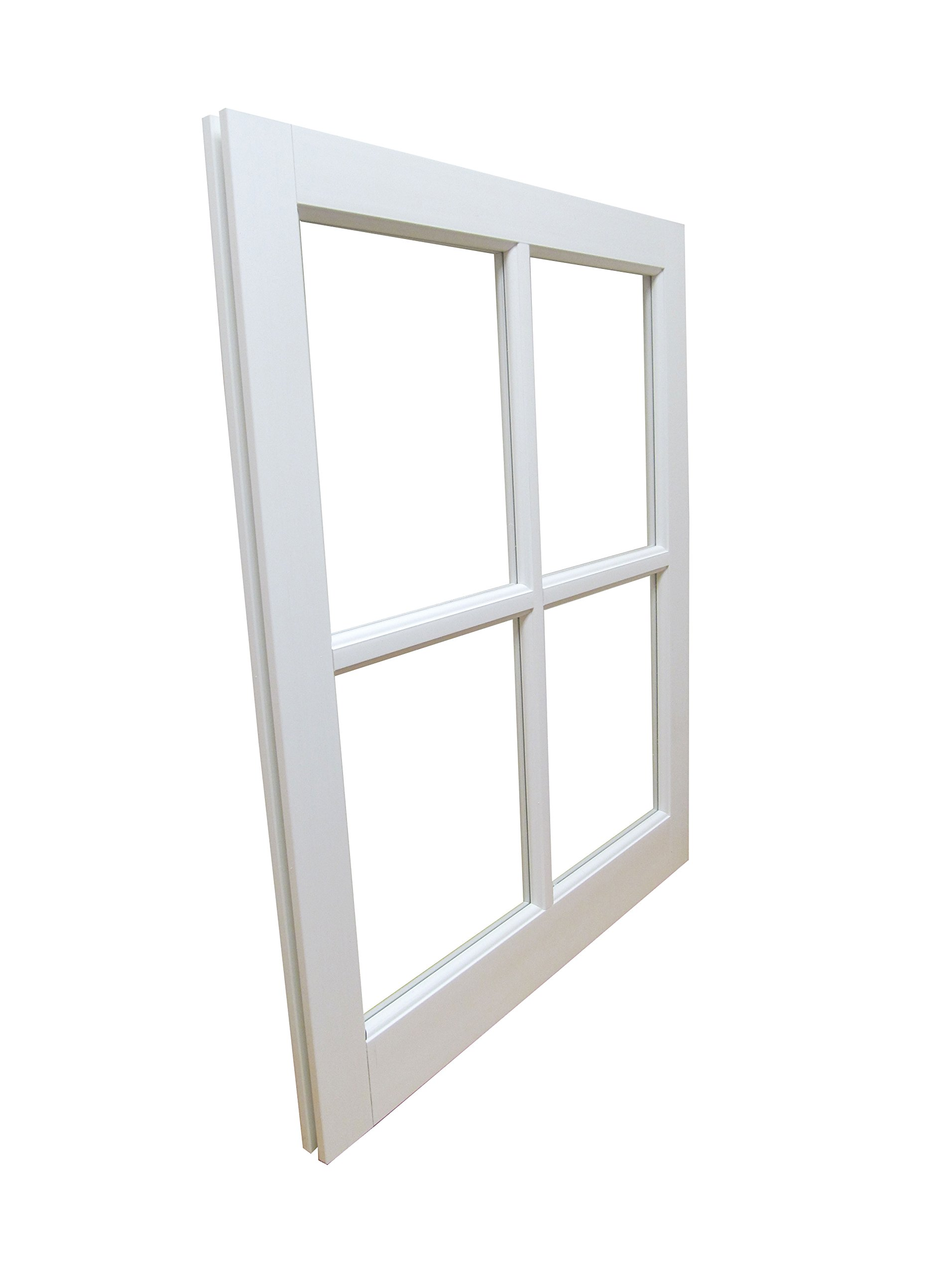 Barn Sash Window PVC 24'' x 29'' Traditional Style 4 lite by Shed Windows and More