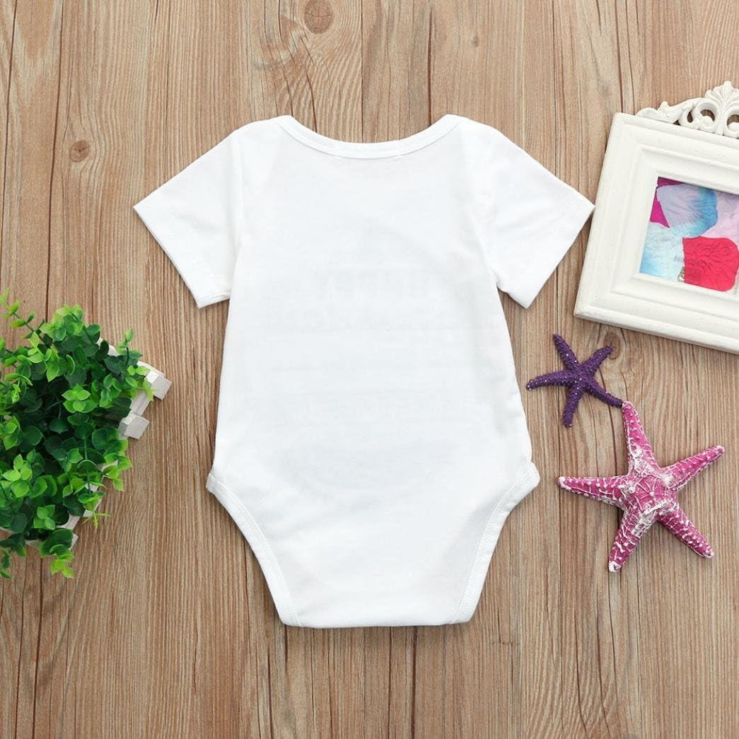 Moonker Romper Newborn Infant Toddler Boys Girls Summer Short Sleeve Letter Print Bodysuits Onesies Outfits 0-18M