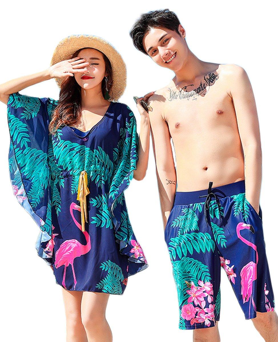 Taomengsi 2018年 水着 ペア 4点セット おしゃれ mizugi カップル レディース メンズ 体型カバー フラミンゴ ワンピース ビキニ サーフパンツ ビーチパンツ リゾート B07F3T1ZKD レディースL+メンズXXL|ブルー