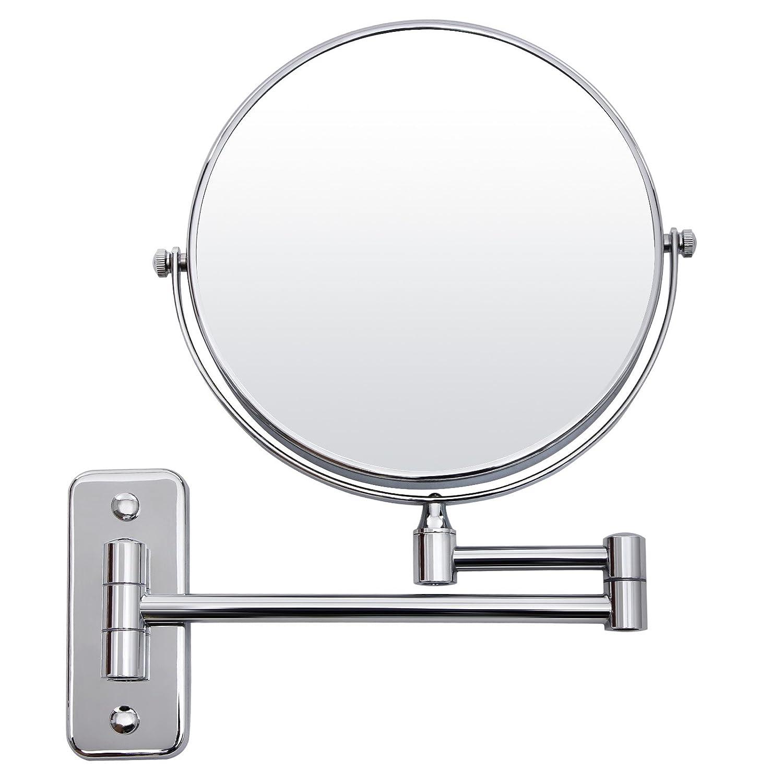 SONGMICS Specchio Cosmetico con braccio pieghevole, da parete, lato senza ingrandimento e con ingrandimento 5x, BBM513
