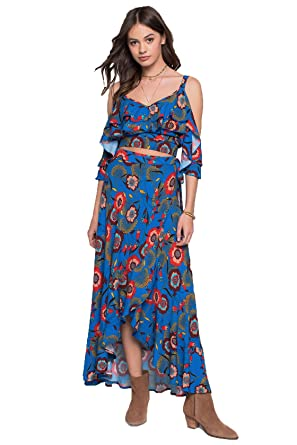 cf8d6e3cf7 Band of Gypsies Boho Chic Heirloom Blossom Wrap Skirt at Amazon ...