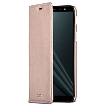 CASEZA Samsung Galaxy A6 Plus Funda Rosa Oro Tipo Libro Piel PU Case Cover Carcasa Plegable Cartera Oslo Piel Vegana Premium para Galaxy A6 + 2018 ...