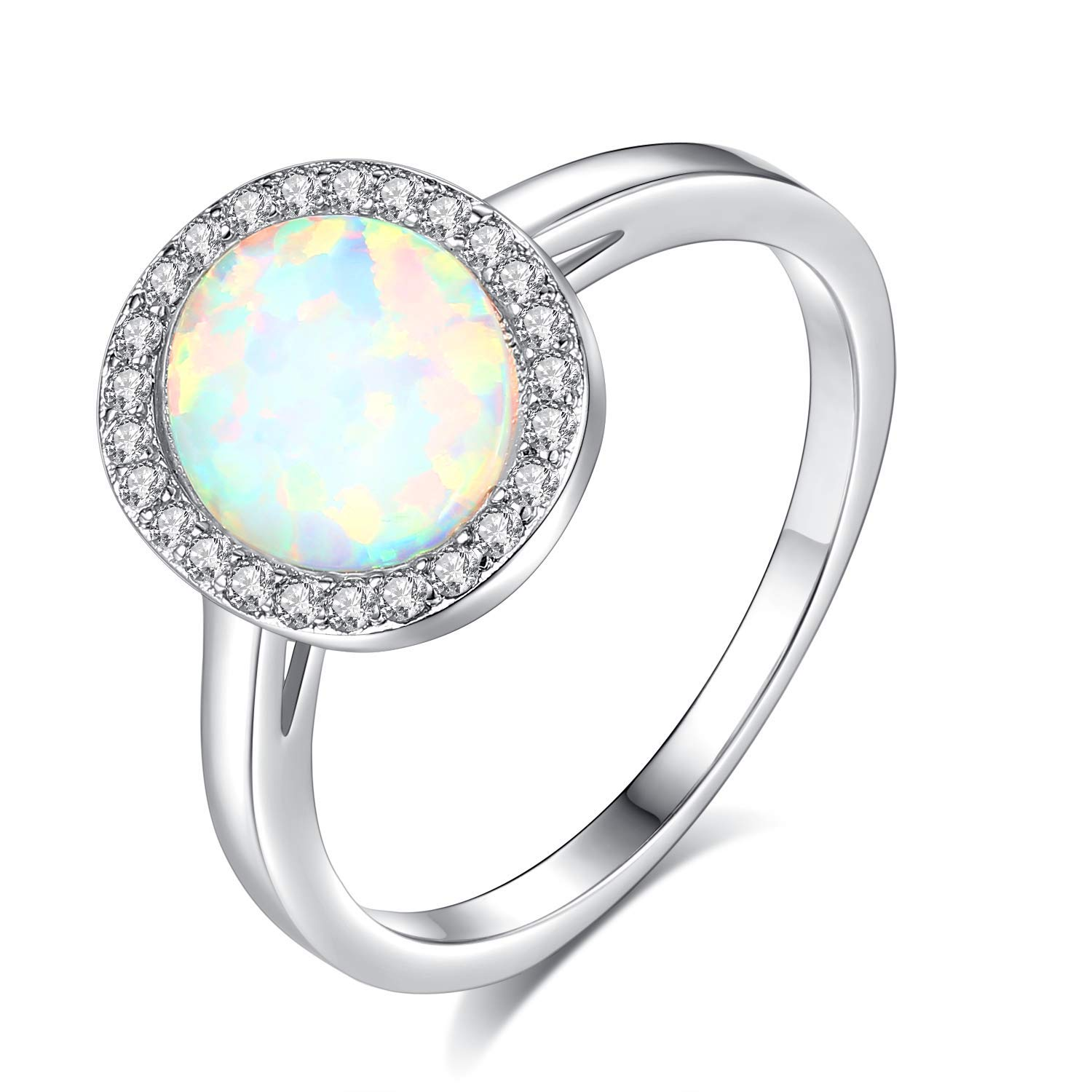 JORA 18K White Gold Plated Oval White Opal & CZ Halo Engagement Ring, Size 10