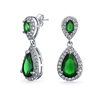 Bling Jewelry Simulated Emerald Crystal Flower Gold Filled Drop Earrings