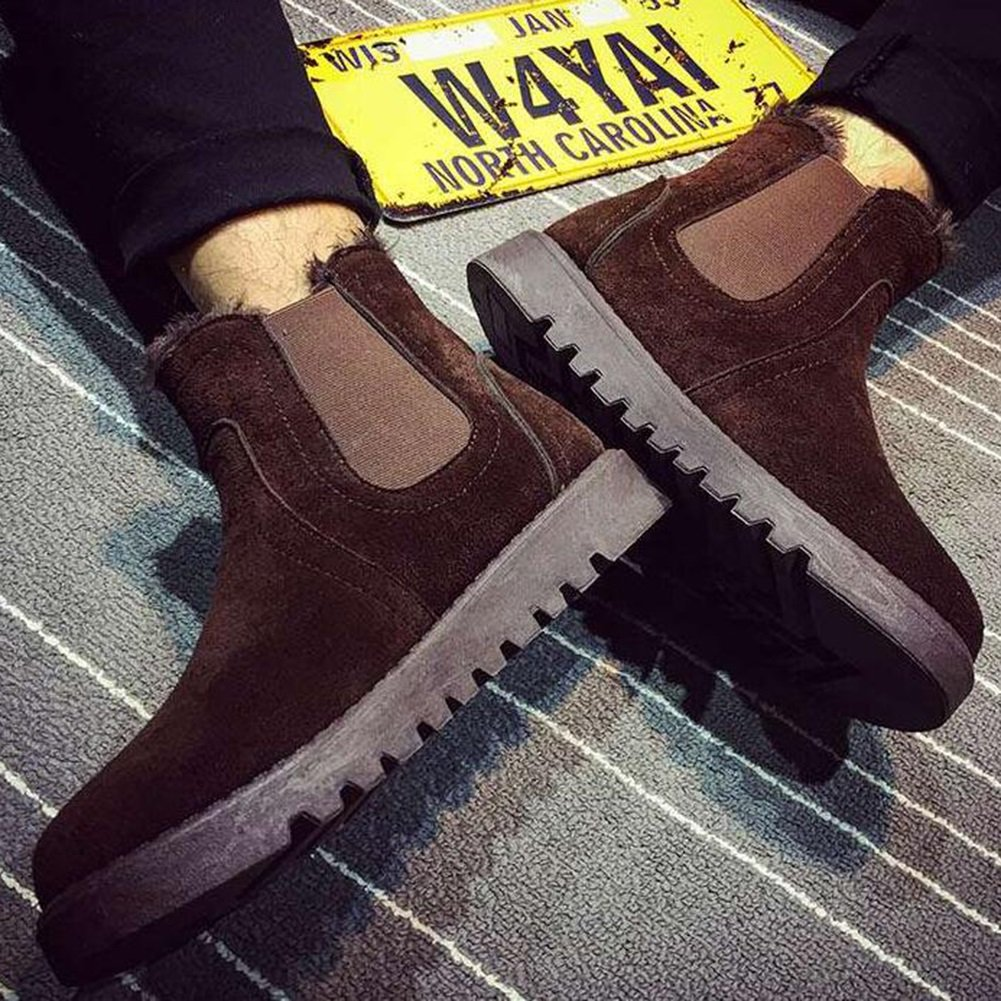 SUNNY Herren Stiefel PU Schneestiefel halten warme Baumwolle Stiefel Stiefel Stiefel Martin britischen Stil Winter (Farbe   1, größe   EU41 UK7.5-8 CN42) d6d576