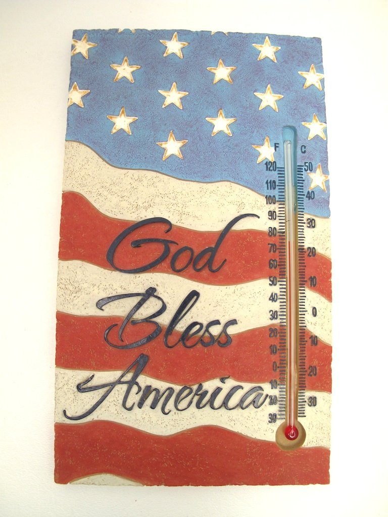 Stone Garden God Bless America Patriotic Thermometer