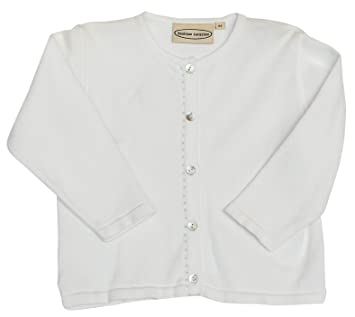 Amazon.com: Girls' Dressy Pearls on Placard Cardigan - White (5Y ...
