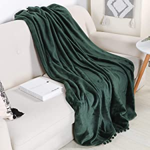 LEEVAN Throw Blanket Computer Office Chair Cover Luxury Flannel Pom Pom Fringe Plush Bed Yellow Throw Lightweight Velvet Blankets for Couch Sofa Suitable for All Seasons Green-51x 63 Inch