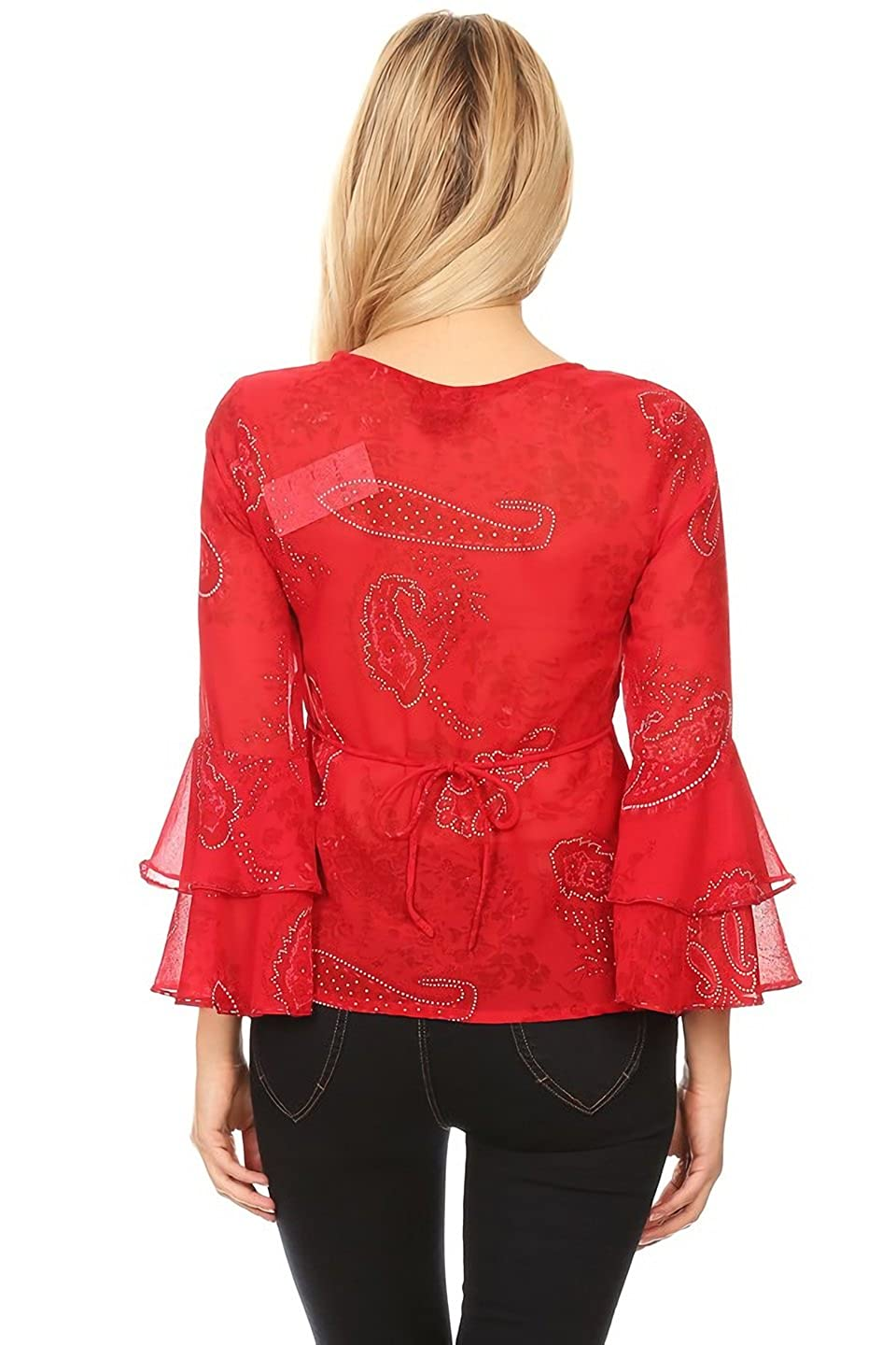 Shes Cool V-Neck Bell Sleeve Relaxed Print Blouse