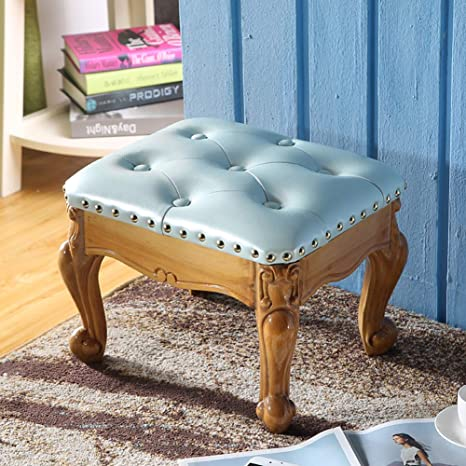 Amazon Com Ge Yobby Vintage Ottoman Leather Footrest Stool With