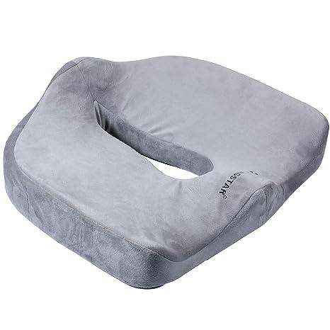 ihoven - Cojín ortopédico para sentarse de espuma con memoria - Para dolor de coxis, dolor pélvico, hemorroides, ciática - Para usar en el hogar, en ...
