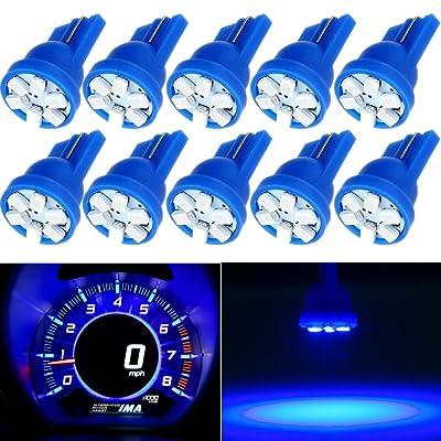 CCIYU 10X Super Blue Wedge Side T10 6SMD LED Speedometer Instrument Light 192 194 168: Automotive