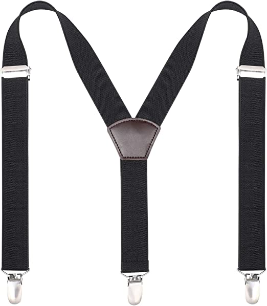 Y back with Leather Button End and Strap WELROG Mens Elastic Suspenders Adjustable Braces