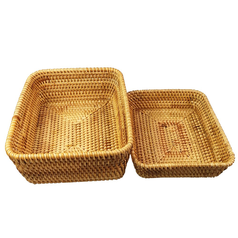 amololo Handmade Rectangle Wicker Fruit Bowls Rattan Tray Organizer Serving Basket Container (2-Size/Kit)