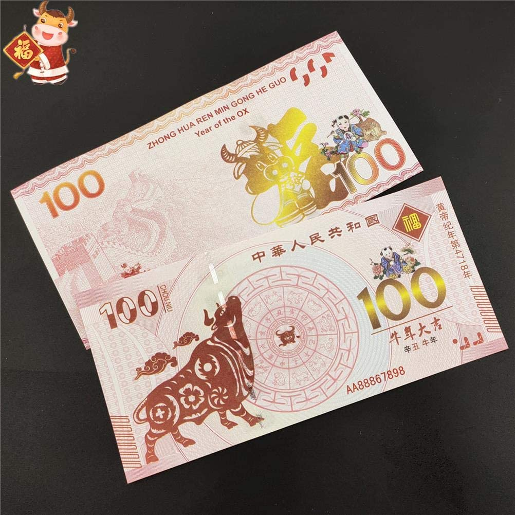 Ioffersuper 10Pcs Year of The Ox Commemorative Banknotes for 2021 Chinese Ox New Year Lucky Zodiac Blessing Souvenir Gift Coin Collection Business Gift