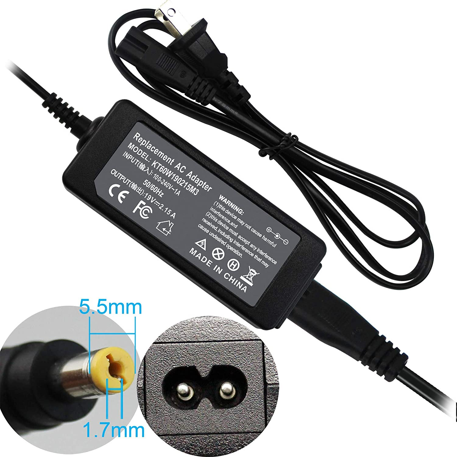 FLYTEN 19V 2.15A 40W S220HQL Charger for Acer Aspire One AO722,Aspire E1 E5 ES1 E1-571 E1-572 E1-531 E5-511P E5-551 E5-573 E5-575 ES1-711 V3 V5 V3-551 ...