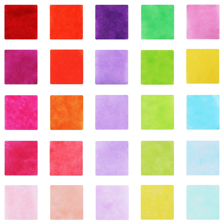 meekoo 2500 Pezzi Quadrati di Carta Velina Confetti Quadrati da 1 Pollice in Tessuto in 25 Colori per Craft e Art Progetto Fai da Te
