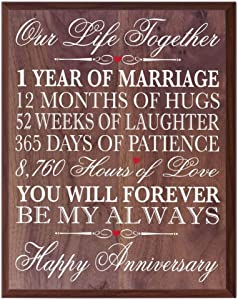 """LifeSong Milestones 1st Wedding Anniversary Wall Plaque Gifts for Couple, 1st for Her,1st Wedding for Him 12"""" W X 15"""" H Wall Plaque (Walnut)"""