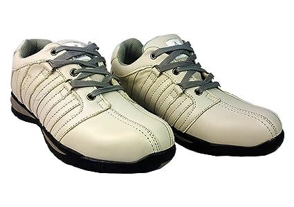 Zapatos de seguridad con puntera de acero para hombre o mujer, piel sintética, marfil
