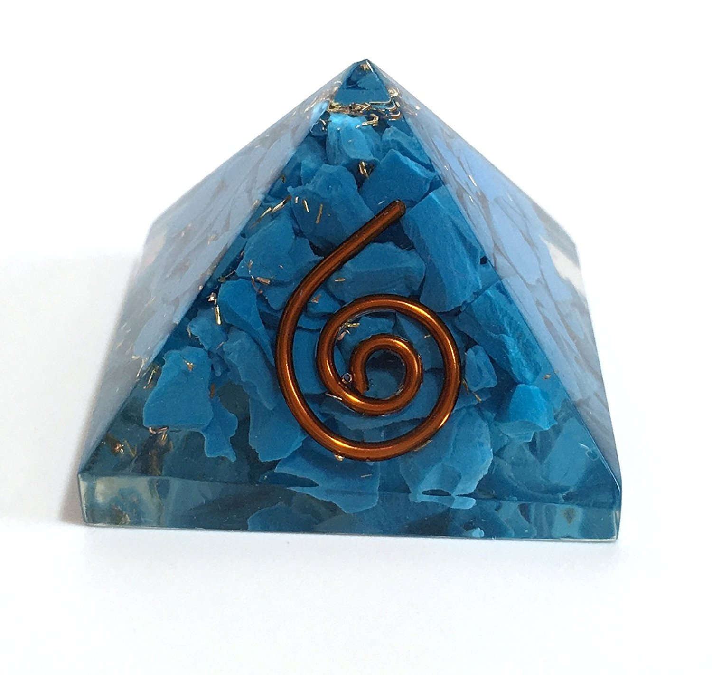 Crocon Blue Turquoise Orgone Pyramid Reiki Healing Aura