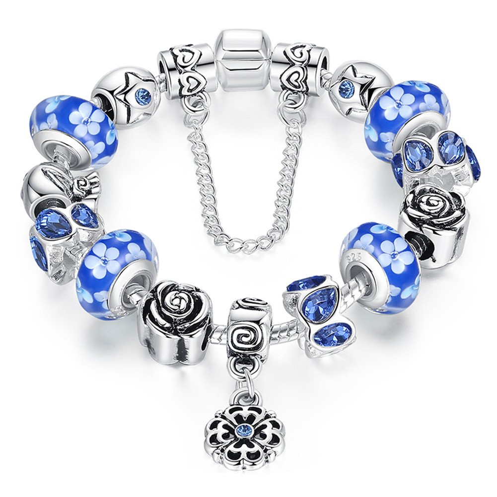 ATE® Bracelet Charms Verre à Motif Floral pour Femme Cadeau# JW-B170