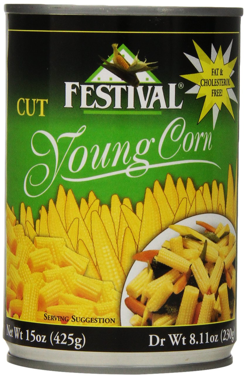Festival Cut Baby Corn, 15-Ounce (Pack of 12)