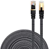 Cat 7 Ethernet Cable, DanYee Nylon 16ft CAT7 High Speed Professional Gold Plated Plug STP Wires CAT 7 RJ45 Ethernet Cable 3ft 10ft 16ft 26ft 33ft 50ft 66ft 100ft(Black 16ft) (Color: Black 16ft, Tamaño: Black 16ft)