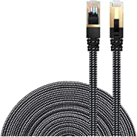 Ethernet Cable Cat 7 DanYee Flat High Speed Nylon LAN Network Patch Cable Gold Plated Plug STP Wires CAT 7 RJ45 Ethernet Cable 0.5M 1M 2M 3M 5M 8M 10M 15M 20M 30M(Black-8m)