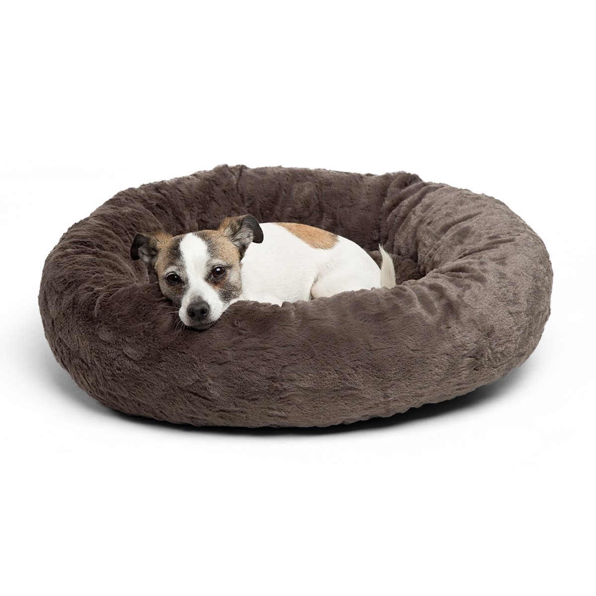 Best Friends by Sheri Luxury Faux Fur Donut Cuddler 23×23 , Mink – Small Round Donut Cat and Dog Cushion Bed, Orthopedic Relief