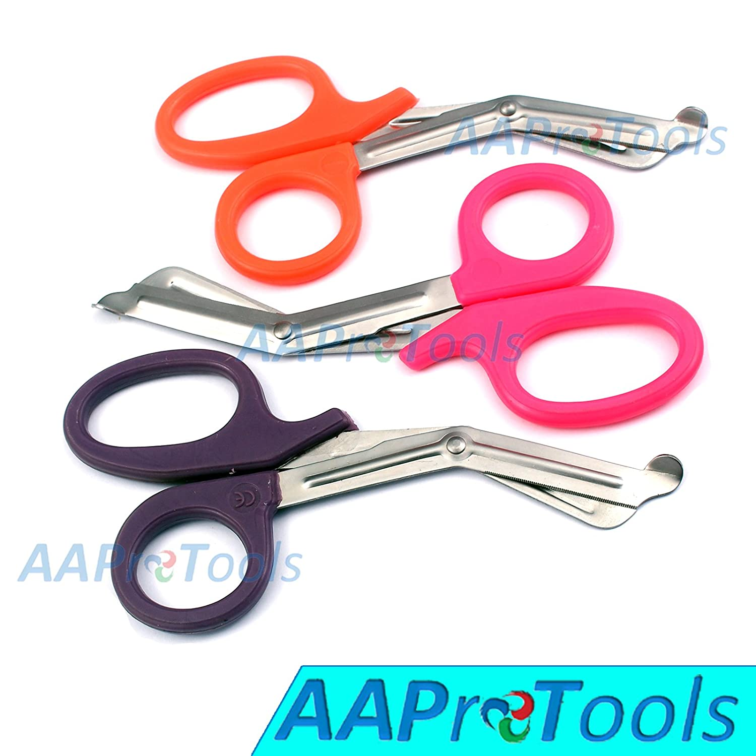 "AAPROTOOLS SET OF 3 ( ORANGE PINK PURPLE ) TRAUMA PARAMEDIC EMT SHEARS SCISSORS 7.5"" A+ QUALITY"