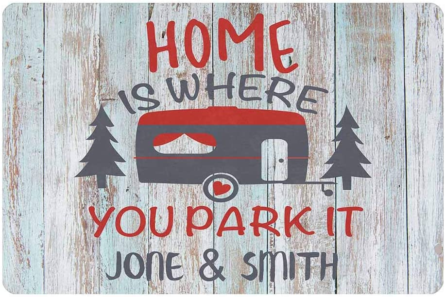 Custom Doormat Personalized Text Mat Home is Where You Camper Doormat Door Mat Floor Rug 23.6 x 15.7 Inches Indoor Outdoor Bathroom Living Room Non Slip Decor