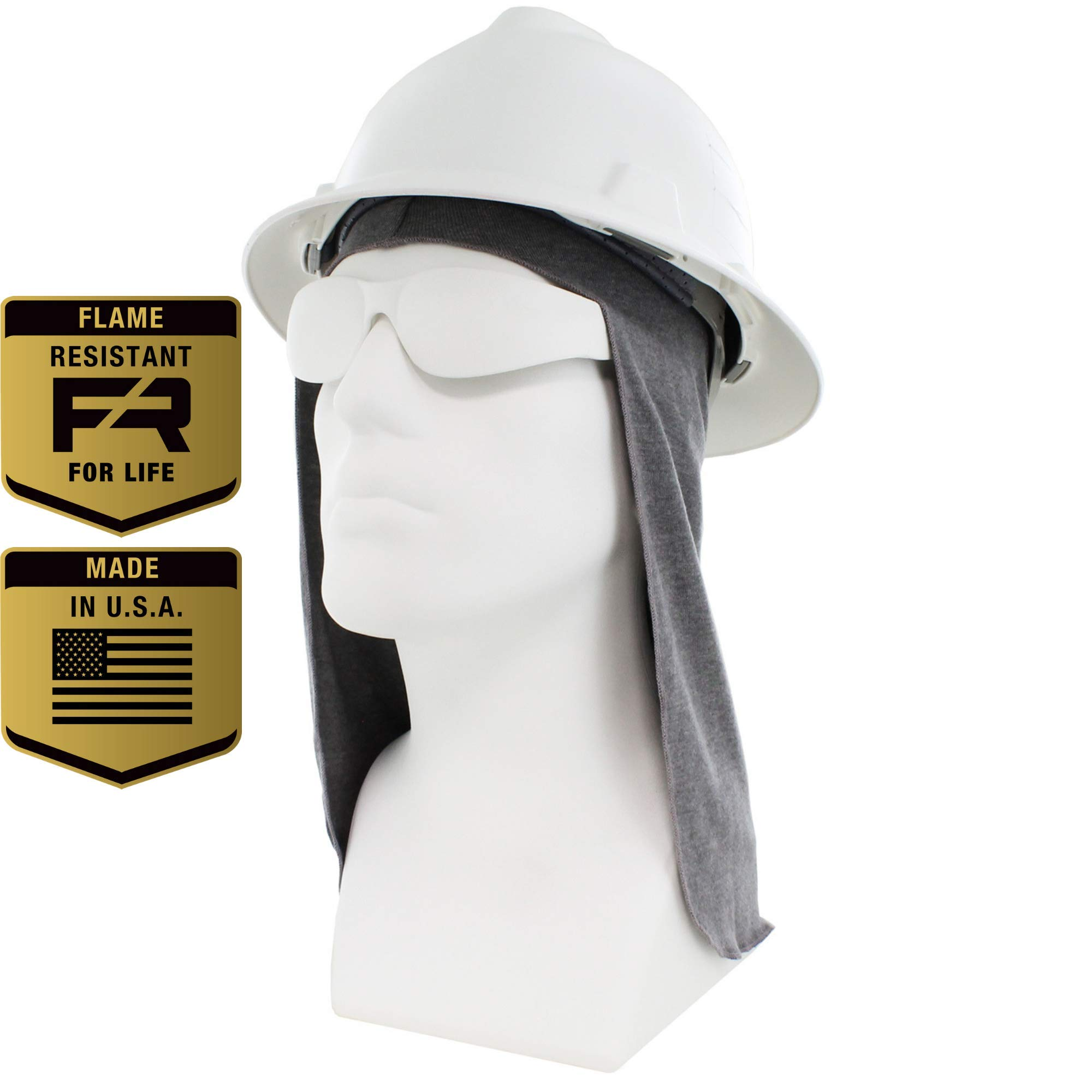 Flame Resistant FR Hard Hat Liner, Sun Shade, Lt. Gray, One Size Fits All Hard Hats (Light Gray)