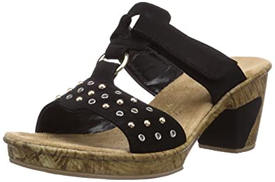 Rieker Womens 69721 Mules Black Schwarz (schwarz / 00) Size: 3.5