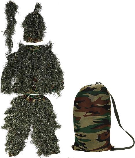 Zerone Ghillie Suit 3D Traje de Camuflaje, Disfraz de Caza de ...